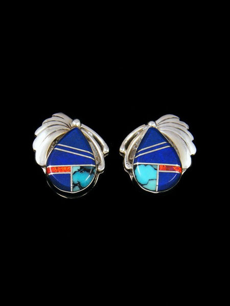 Native American Inlay Lapis and Turquoise Post Earrings
