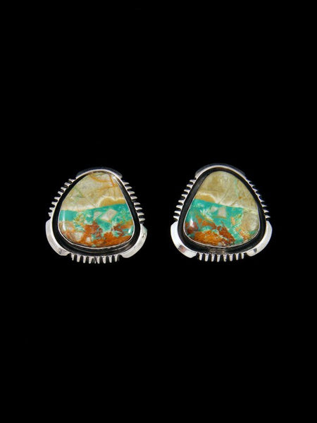Navajo Royston Turquoise Sterling Silver Post Earrings