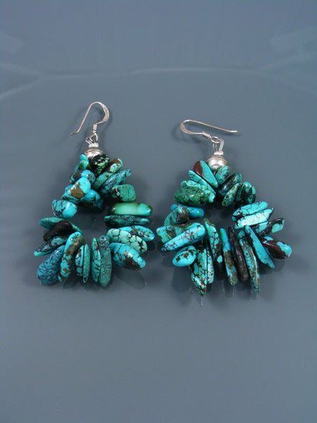 Navajo Turquoise Beaded Nugget Dangle Earrings