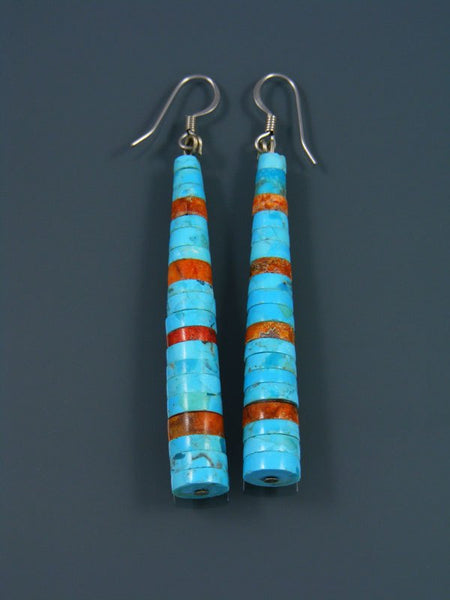 Spiny Oyster and Turquoise Beaded Santo Domingo Dangle Earrings