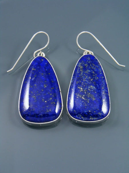 Navajo Sterling Silver Lapis Dangle Earrings
