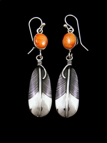 Native American Sterling Silver Spiny Oyster Dangle Feather Earrings