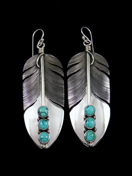 Native American Sterling Silver Turquoise Dangle Feather Earrings