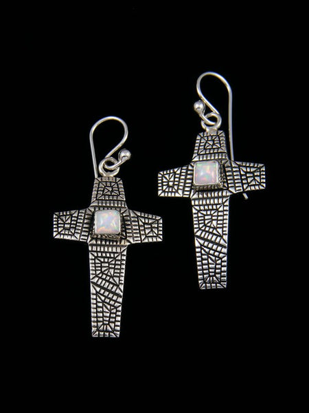 Navajo Sterling Silver Opalite Cross Dangle Earrings