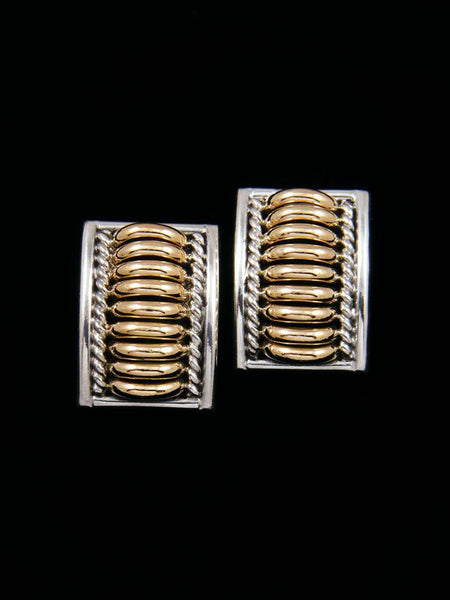 Navajo Sculpted Sterling Silver and Gold Post Earrings
