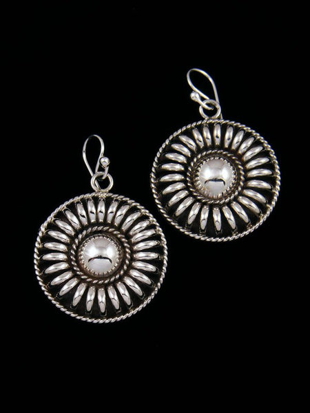 Navajo Sculpted Sterling Silver Dangle Earrings