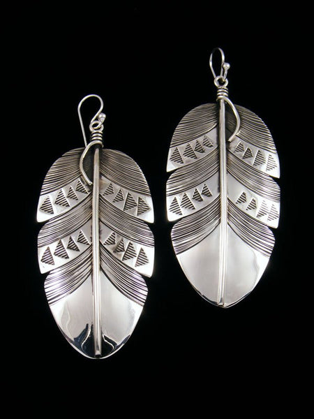 Navajo Sterling Silver Feather Earrings
