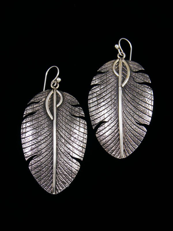 Native American Sterling Silver Dangle Feather Earrings