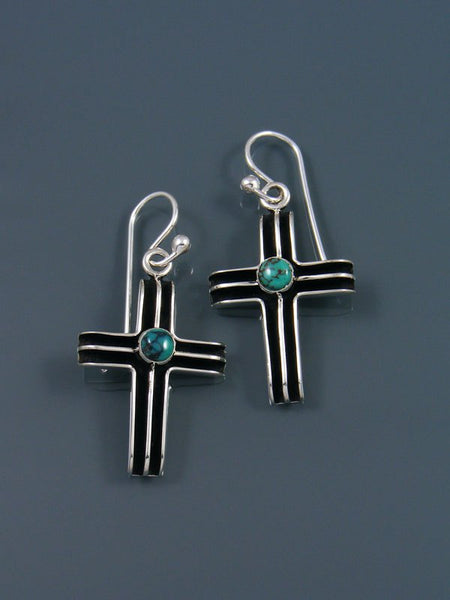 Native American Turquoise Dangle Cross Earrings