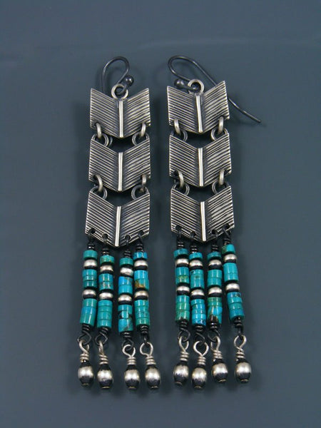 Native American Turquoise Beaded Dangle Earrings