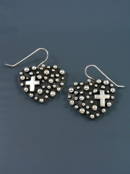 Native American Droplet and Cross Heart Dangle Earrings