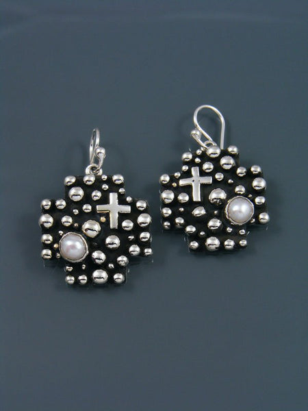 Native American Droplet and Cross Dangle Earrings