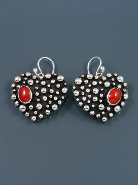 Native American Droplet and Coral Heart Dangle Earrings