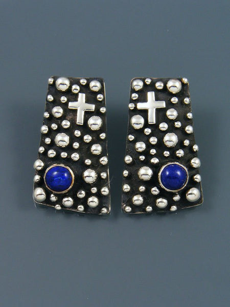 Native American Droplet and Cross Lapis Post Earrings