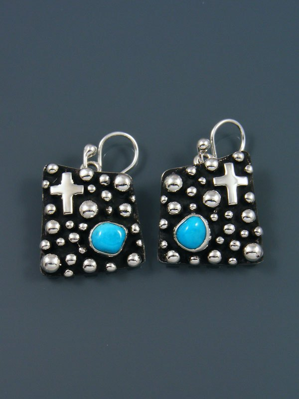 Native American Droplet and Cross Turquoise Dangle Earrings