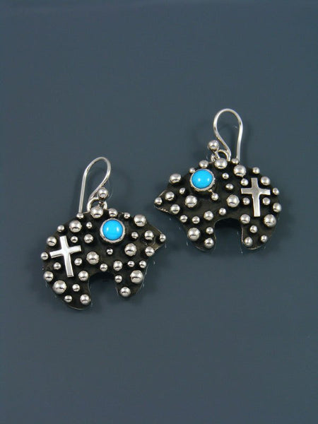 Native American Medicine Bear Turquoise Dangle Earrings