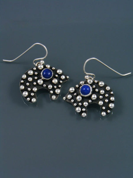 Native American Droplet and Cross Lapis Bear Dangle Earrings
