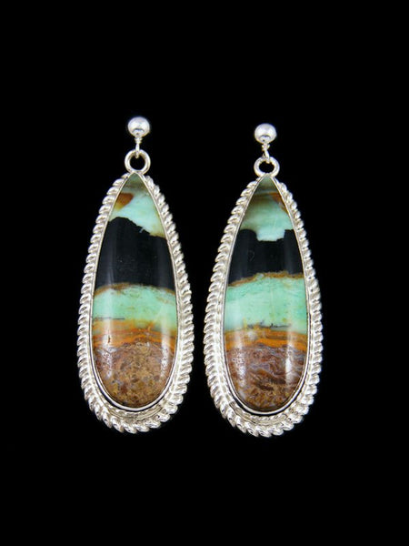 Native American Blue Opalized Petrified Wood Sterling Silver Post Earrings