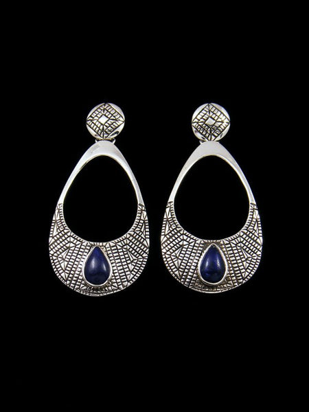 Navajo Jewelry Sterling Blue Lapis Post Earrings