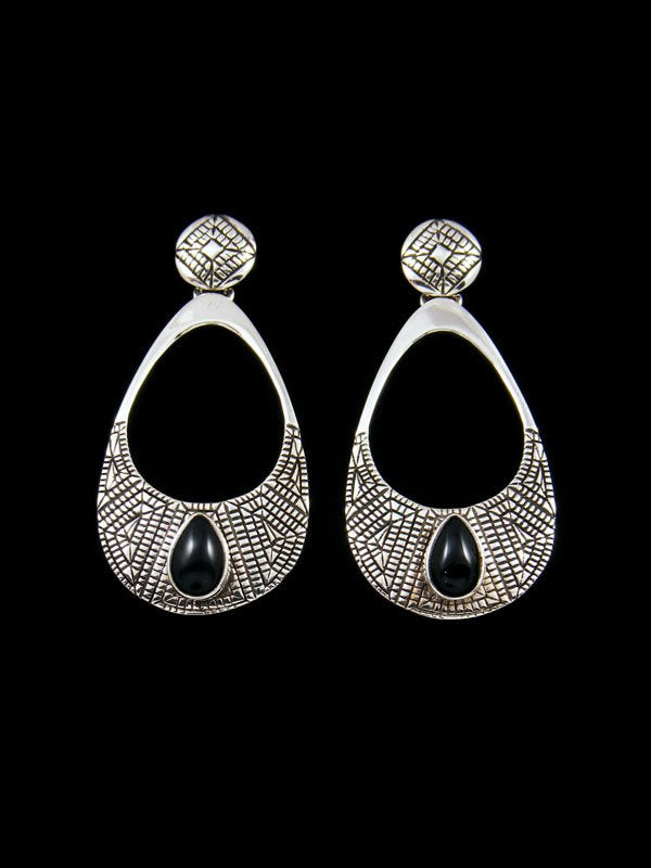 Navajo Jewelry Sterling Black Onyx Post Earrings