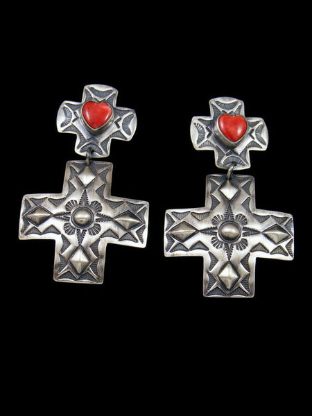 Navajo Sterling Silver Spiny Oyster Cross Post Earrings