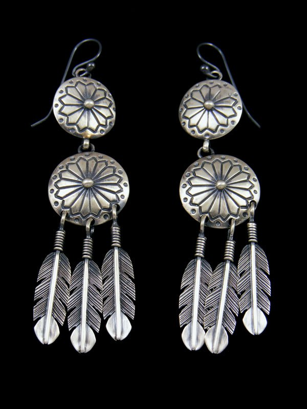 Navajo Sterling Silver Basket Feather Earrings