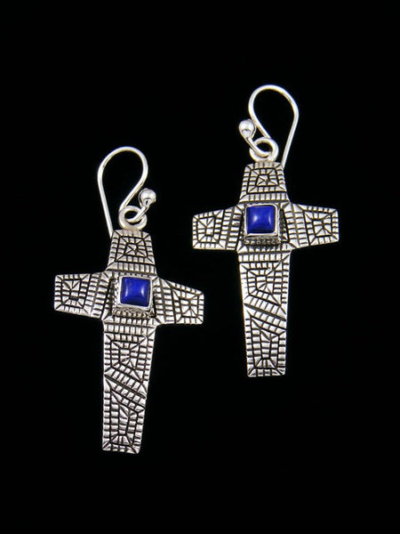 Navajo Sterling Silver Lapis Cross Dangle Earrings