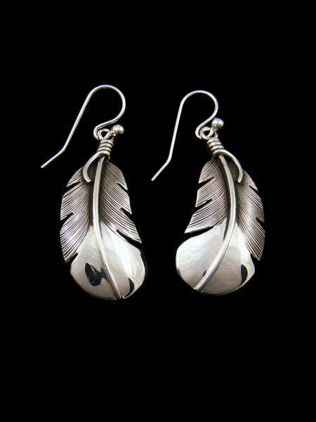 Navajo Sterling Silver Dangle Feather Earrings