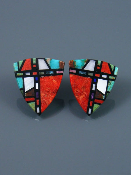 Santo Domingo Mosaic Inlay Apple Coral Post Earrings