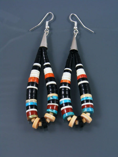 Black Jet and Turquoise Bead Santo Domingo Dangle Earrings
