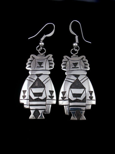 Sterling Silver Hopi Style Overlay Maiden Dangle Earrings