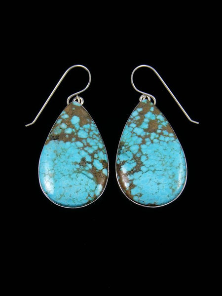 Native American Sterling Silver #8 Turquoise Dangle Earrings