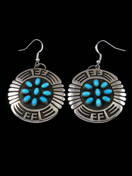 Sterling Silver Navajo Turquoise Overlay Dangle Earrings