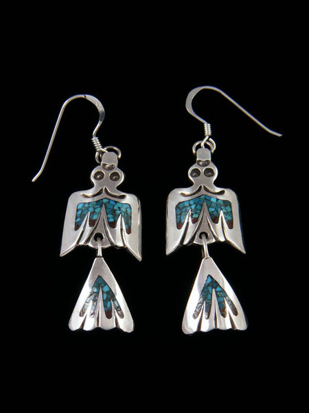 Navajo Turquoise Chip Inlay Dangle Earrings