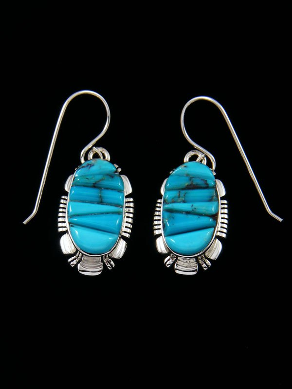Native American Kingman Turquoise Cobblestone Inlay Dangle Earrings