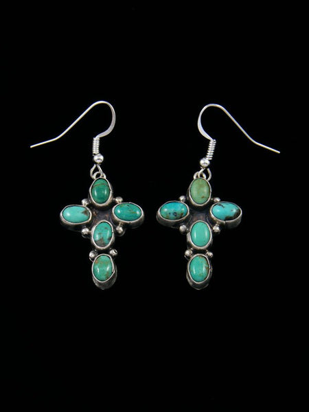 Navajo Green Turquoise Cross Dangle Earrings