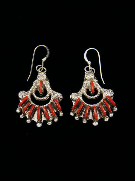 Native American Indian Jewelry Coral Zuni Dangle Earrings