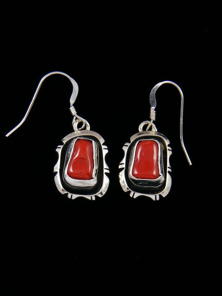 Navajo Coral Sterling Silver Dangle Earrings