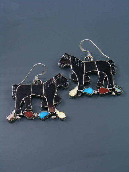 Sterling Silver Zuni Inlay Dangle Penn Shell Horse Earrings