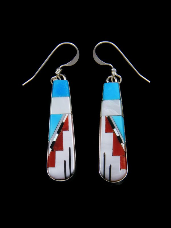 Mother of Pearl Zuni Inlay Dangle Earrings