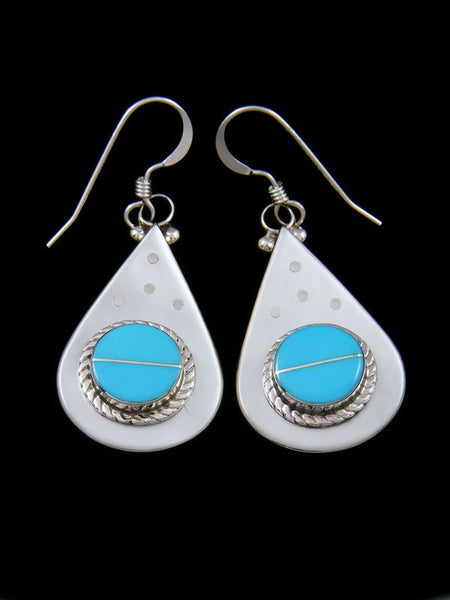 Zuni Mother of Pearl and Turquoise Inlay Dangle Earrings
