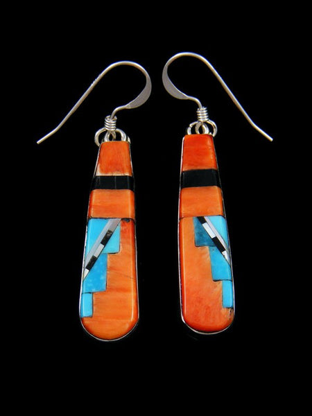 Spiny Oyster Zuni Inlay Dangle Earrings