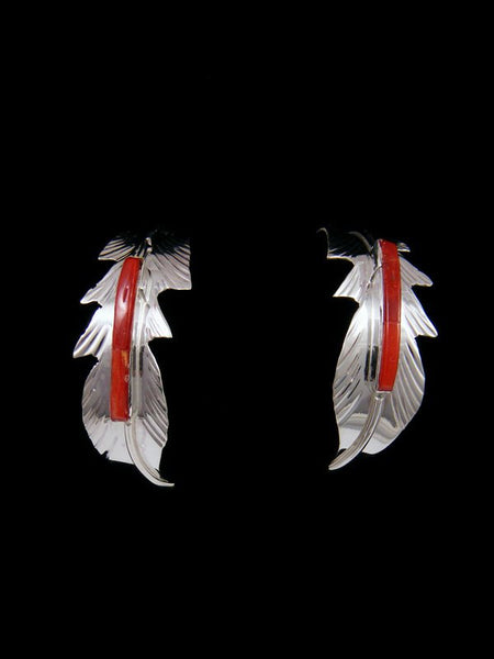 Navajo Sterling Silver Coral Inlay Feather Post Earrings