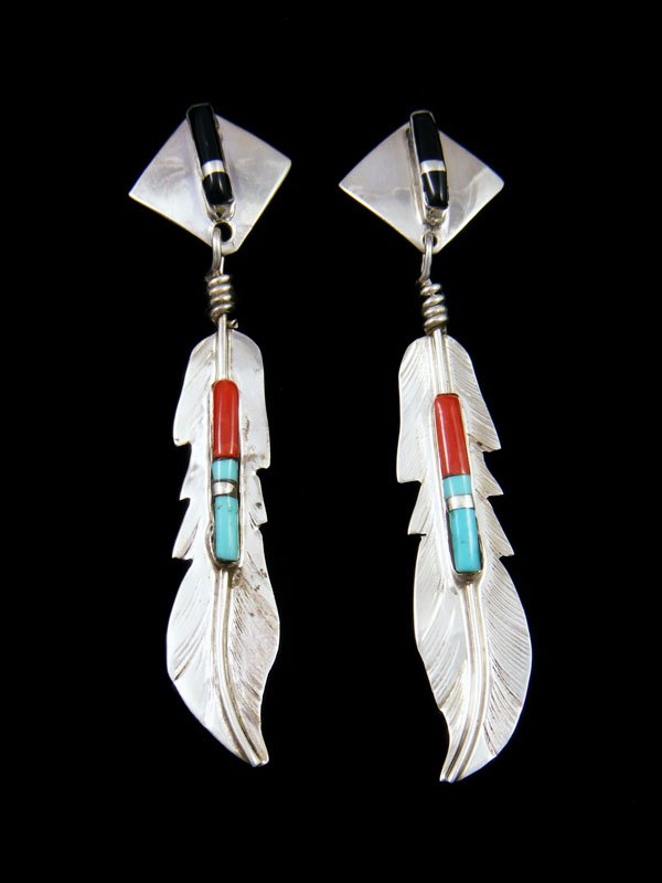 Navajo Sterling Silver Inlay Feather Earrings