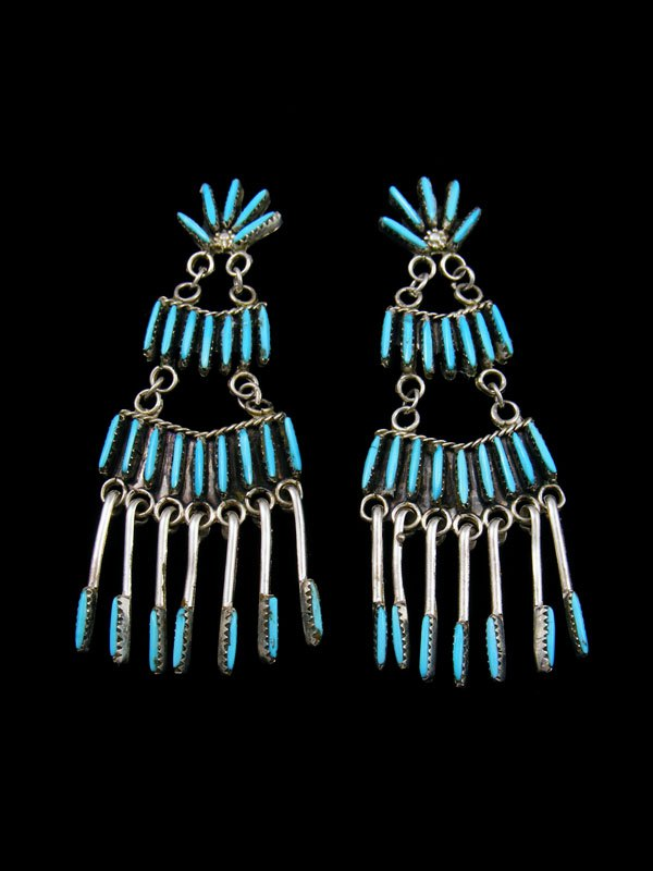 Native American Indian Jewelry Turquoise Zuni Post Earrings