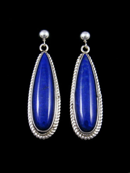 Lapis Sterling Silver Dangle Post Earrings