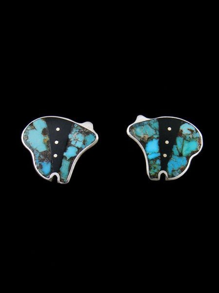 Onyx and Turquoise Navajo Inlay Post Bear Earrings