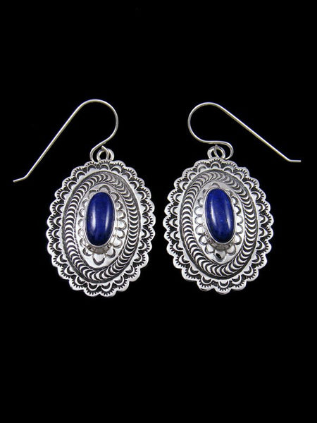 Lapis Sterling Silver Dangle Concho Earrings