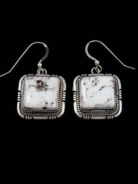 Navajo White Buffalo Sterling Silver Dangle Earrings