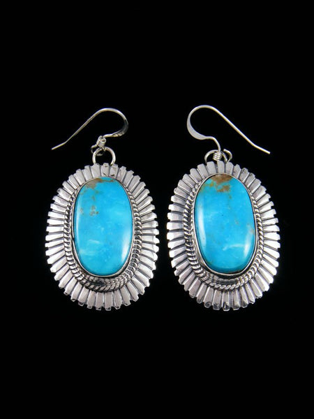 Navajo Kingman Turquoise Sterling Silver Dangle Earrings